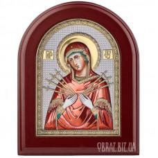 Ікона Божої Матері «Семистрільна» в сріблі з позолотою і емаллю