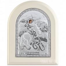 Ікона Георгія Побідоносця в сріблі на подарунок