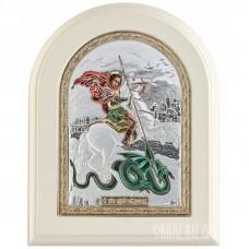 Ікона Георгія Побідоносця в сріблі та кольорі і емаллю