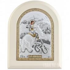 Ікона Георгія Побідоносця в сріблі з позолотою на подарунок