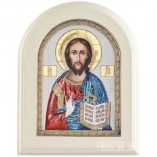 Ікона Ісуса Христа Спасителя в сріблі та кольорі