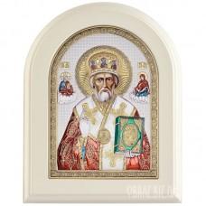 Ікона Миколи Чудотворця в сріблі та кольорі і емаллю