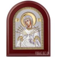 Ікона Пресвятої Богородиці «Семистрільна» в сріблі з позолотою