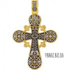 Позолочений голгофський срібний хрестик на хрещення