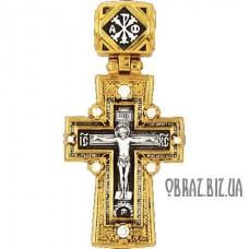 Позолочений срібний хрестик на хрещення розп'яття Христово і Хризми