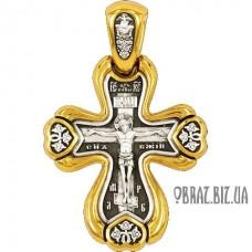 Позолочений срібний хрестик на хрестини розп'яття Христово
