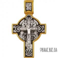Позолочений срібний хрестик розп'яття Господа і тропаря