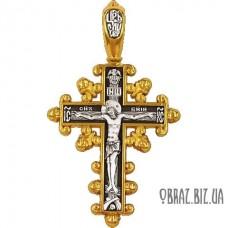 Позолочений срібний хрестик розп'яття Христово і огороджувальної молитви