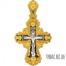 Позолочений срібний хрестик розп'яття Христово і Святителя Миколая