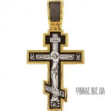 Позолочений срібний хрестик розп'яття Христово і тропар