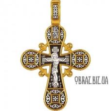 Позолочений срібний хрестик розп'яття Христово і тропаря