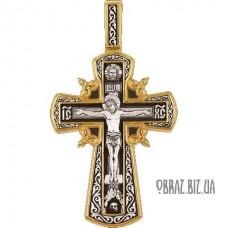 Позолочений срібний хрестик розп'яття Христово і захисної молитви
