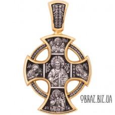 Позолочений срібний хрестик Вседержителя і Миколи Чудотворця