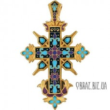 Великий срібний хрестик з позолотою та емаллю
