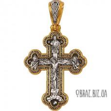 Великий срібний хрестик з позолотою розп'яття Христово