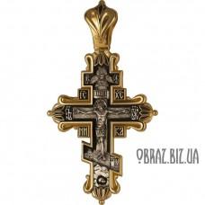 Великий срібний хрестик з позолотою розп'яття Спасителя