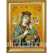 Ікона Божої Матері «Неустанної Помочі» з бурштину