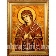 Ікона Божої Матері «Семистрільна» з бурштину