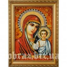 Ікона Казанської Божої Матері з бурштину