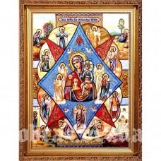 Ікона Пресвятої Богородиці «Неопалима Купина» з бурштину