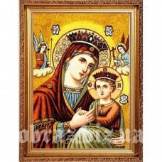 Ікона Пресвятої Богородиці «Неустанної Помочі» з бурштину