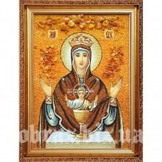Ікона Пресвятої Богородиці «Невичерпна Чаша» з бурштину