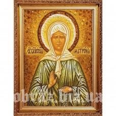 Ікона Святої Матрони Московської з бурштину