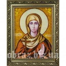 Ікона Святої Мучениці Галини з бурштину