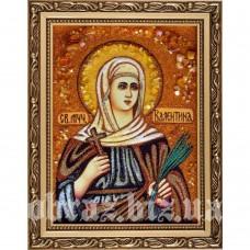 Ікона Святої Мучениці Валентини Кесарійської з бурштину