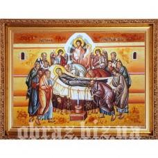 Ікона «Успіння» Пресвятої Богородиці з бурштину